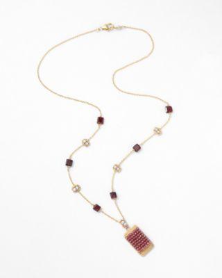 Mixed-Gemstone Short Pendant Necklace by Michelle Pressler
