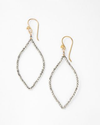 Pyrite Elongated Hoop Earrings by Robindira Unsworth