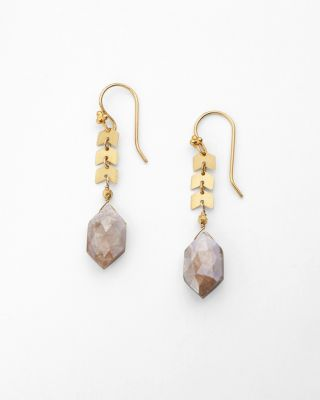 Chevron Moonstone Earrings by Robindira Unsworth