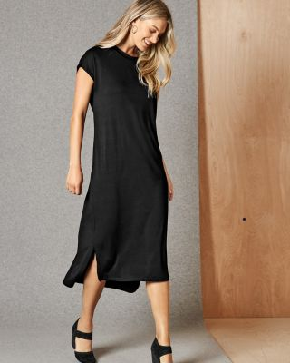 EILEEN FISHER Viscose Jersey Cap-Sleeve Midi Dress