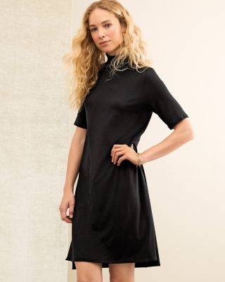 EILEEN FISHER Viscose Jersey Mock-Neck Elbow-Sleeve Dress
