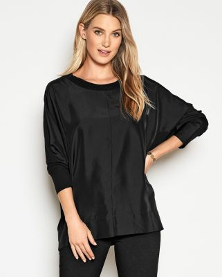 EILEEN FISHER Stretch TENCEL & Silk Long-Sleeve Boxy Top