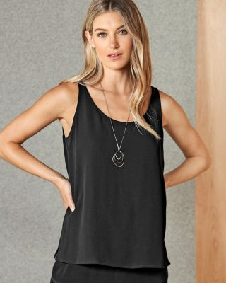 EILEEN FISHER Silk Georgette Crepe Scoop-Neck Tank Top