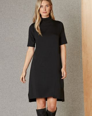 EILEEN FISHER Viscose Jersey Mock-Neck Elbow-Sleeve Dress Petite