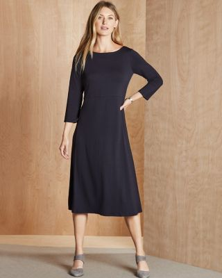 EILEEN FISHER Viscose-Jersey Bateau-Neck Midi Dress Petite