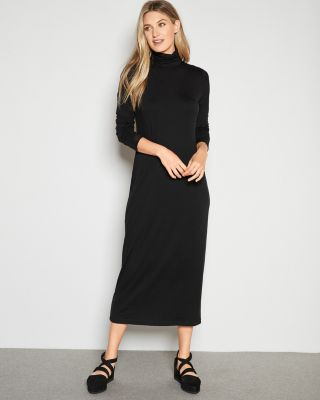 EILEEN FISHER Fine TENCEL Jersey Scrunch-Neck Maxi Dress Petite
