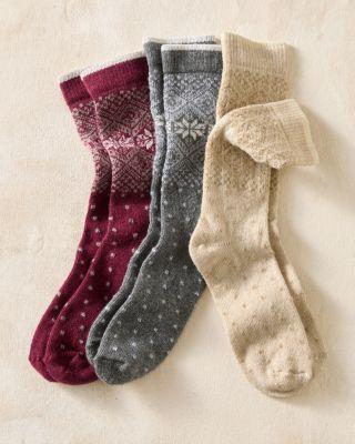 Wool & Cashmere Blend Fair Isle Socks