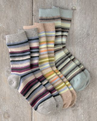 Shimmer Striped Wool Cashmere Crew Socks