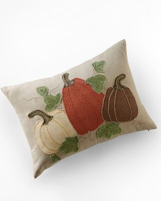 Pumpkins Embroidered Pillow Cover