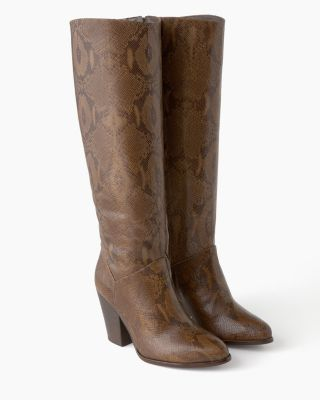 Elena Tall Leather Snake Print Boots by Trask