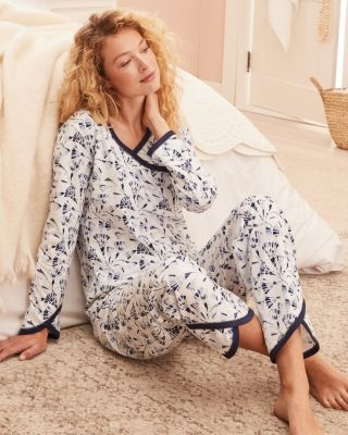 Asian Wrap Long-Sleeve Cotton Pajamas